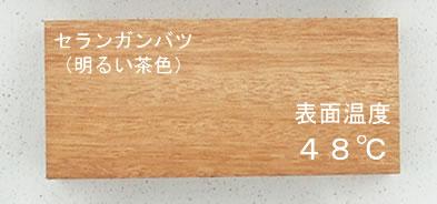 人工木材と天然木材の表面温度2