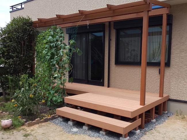 個人様宅のウッドデッキの施工例(愛知県のS.S.様ご施工)