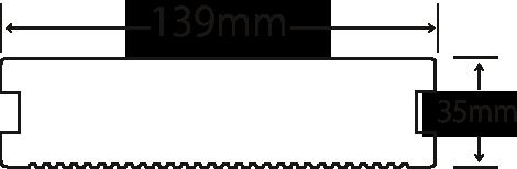 Eee-Deck(リブ付無垢タイプ 139mm×35mm×2m)(EWH-DM140)の断面図