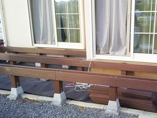 人工木ウッドデッキ施工例
