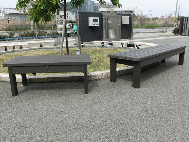 ベンチの施工例(兵庫県 株式会社 三上工作所様ご施工)
