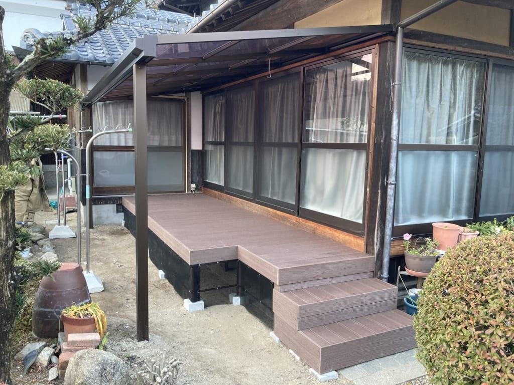 階段付きウッドデッキ(岡山県 ベースワーク様ご施工)